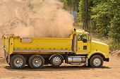 stock photo of dump_truck  - A backhoe loads duft and top soil into a 10 - JPG