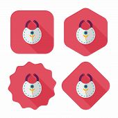Baby Bib Flat Icon With Long Shadow,eps 10