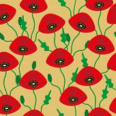 Pattern Of Red Poppies