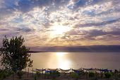 Beautiful Dawn Over The Dead Sea, Israel