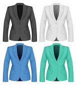 Ladies suit jacket for business women. Formal work wear. Vector illustration.