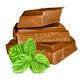 Chocolate with fresh mint. Vector illustration.