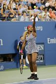 Grand Slam champion Serena Williams during first round match at US Open 2014