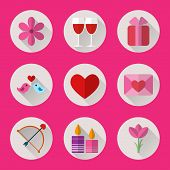 Valentine flat round icons set for mobile or web site applications.