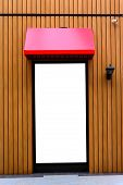 pic of awning  - Red awning with wooden wall with copy space - JPG