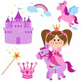 stock photo of fairy  - Pretty fairy princess riding a horse, a castle, unicorn, rainbow, crown and magic wand  vector set.