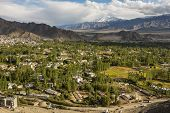 Views of Leh city from Shanti Stupa Ladakh ,India  - September 2014