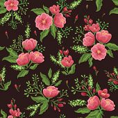 Floral seamless pattern with pink flowers and green leaves.