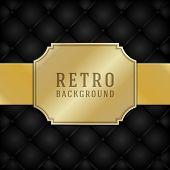 Vintage style golden label ornament design and black leather vector background. Retro luxury frame badge premium quality design element.