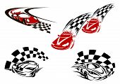 stock photo of car symbol  - Race symbols of speeding red and black racing cars in outline sketch style with checkered winding roads suited for tattoo and motosport competition design - JPG
