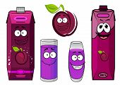 Cartoon plum juice characters for food pack design