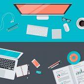 Set of flat design illustration concept of modern workspace, top view