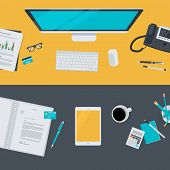 Set of flat design illustration concepts for business, finance, e-commerce
