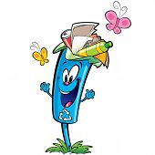 stock photo of garbage bin  - Happy cartoon smiling recycle garbage bin character  - JPG