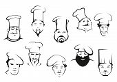 Portraits of chefs or cooks in cartoon sketch style