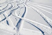 Freeride Tracks On Powder Snow