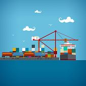 Cargo Sea Port , Vector Illustration