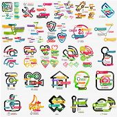 Mega collection of various web infographics, web icons and words on colorful stickers