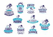 pic of sunrise  - Vintage summer holidays emblems and logo in blue colors with beaches - JPG
