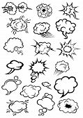 picture of lightning  - Cartoon speech bubbles and explosion clouds in comic style with motion trails and lightnings for comic book expression and dialog design - JPG