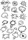 Comics explosion clouds and speech bubbles