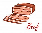 Cartoon roast beef in retro style