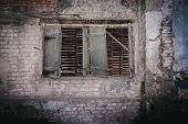 old woode window without glass