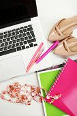 Постер, плакат: Fashion blogger concept Still life of fashion creative space