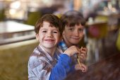 Little Boys In Fast Food Restaurant