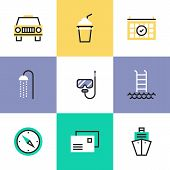 Relaxation And Vacation Pictogram Icons Set