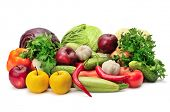assortment fruits and vegetables isolated on white