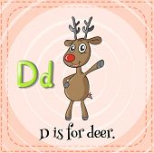Illustration of a letter D is for deer