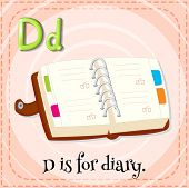 Illustration of a letter D is for diary