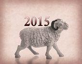 Happy new year 2015 with goat cartoon