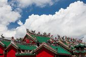 chinese temple roofs and dramatic clouds