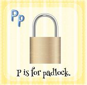 Illustration of a letter P is for padlock