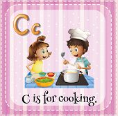 Illustration of a letter C is for cooking