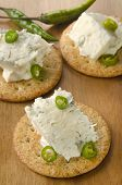 Cracker With Gorgonzola And Green Chili