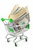 trolley with money concept isolated