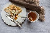 Pancake With Jam And Tea