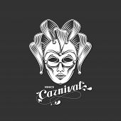 vector illustration of engraving venetian carnival mask emblem and ornate lettering logo. Venice