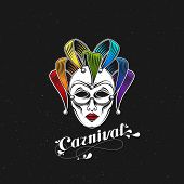 stock photo of incognito  - vector illustration of engraving rainbow carnival mask emblem and ornate lettering logo - JPG