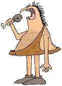 Caveman eating a drumstick