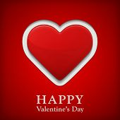 Valentine's Day Greetings Card With Big Red Heart.