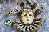 Classical Venetian Carnival Mask And Blowers
