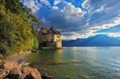 Cold  lake in the mountains. Lake Geneva in the fall on a sunny day. Montreux, Switzerland