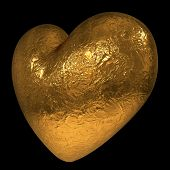 Abstract 3D golden heart isolated on black background.