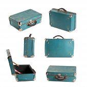 Vintage Leather Suitcase. Light-blue