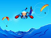 Sun-lighted mountain sky-diving and paragliding