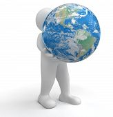 Man and Globe (clipping path included)
